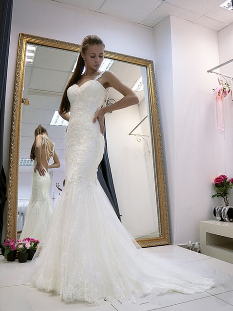 Lace Wedding Dress,Mermaid Wedding Dresses,Elegant Backless Bridal ...