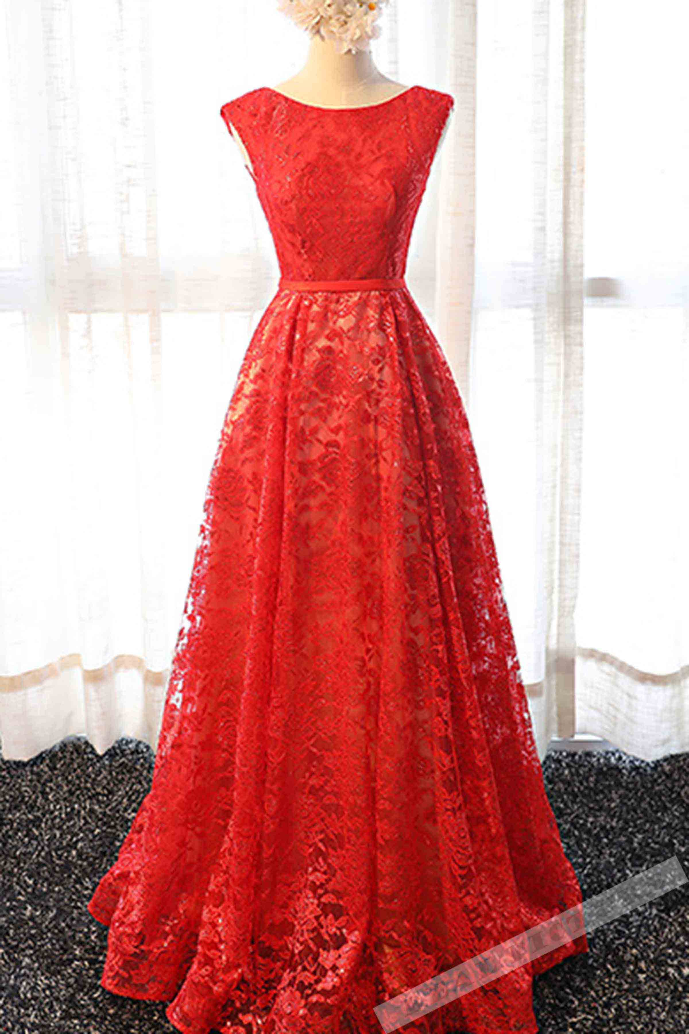 Red lace round neck A-line long prom dress,simple evening dresses ...