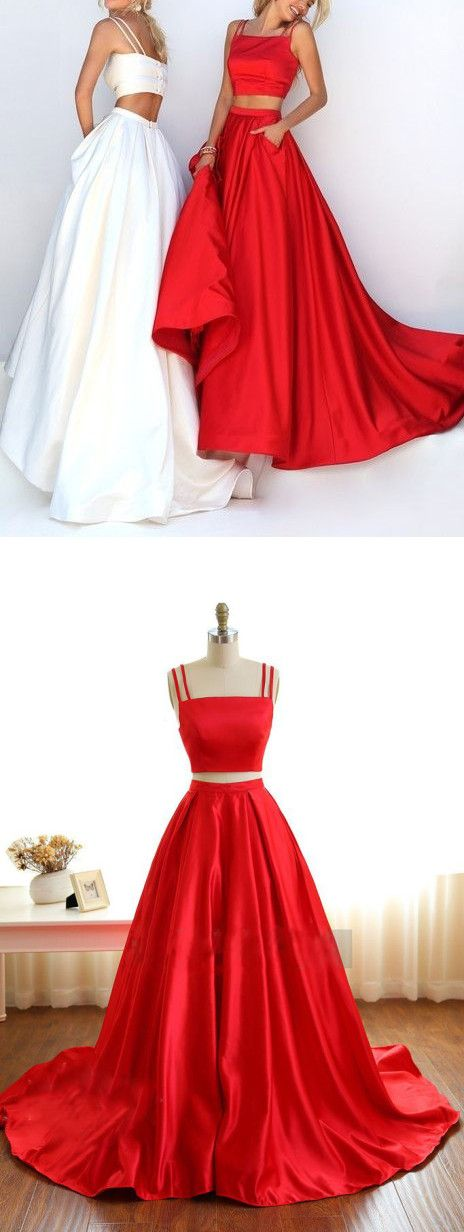 Two Pieces Prom Dress, Spaghetti Straps Prom Dresses, Prom Dress for ...