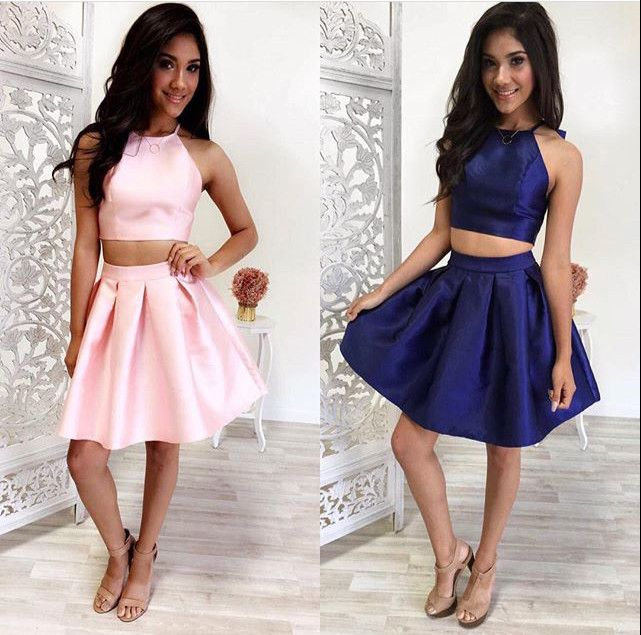Two-Piece Pink/Navy Blue Simple Short Prom/Homecoming Dress ...