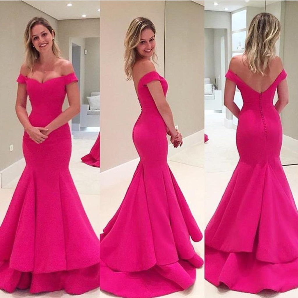 Off Shoulder Hot Pink Soft Satin Long Mermaid Elegant Formal Prom