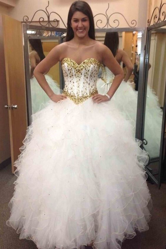 Beautiful gold beading white organza prom dress,long ball gown with ...