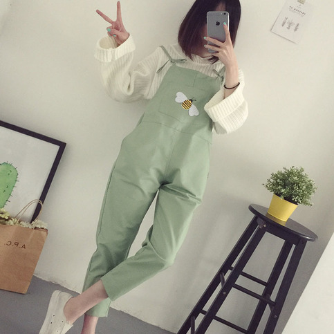 Preppy Beauty Embroid Overalls Spring Cute Ninth Pants ...