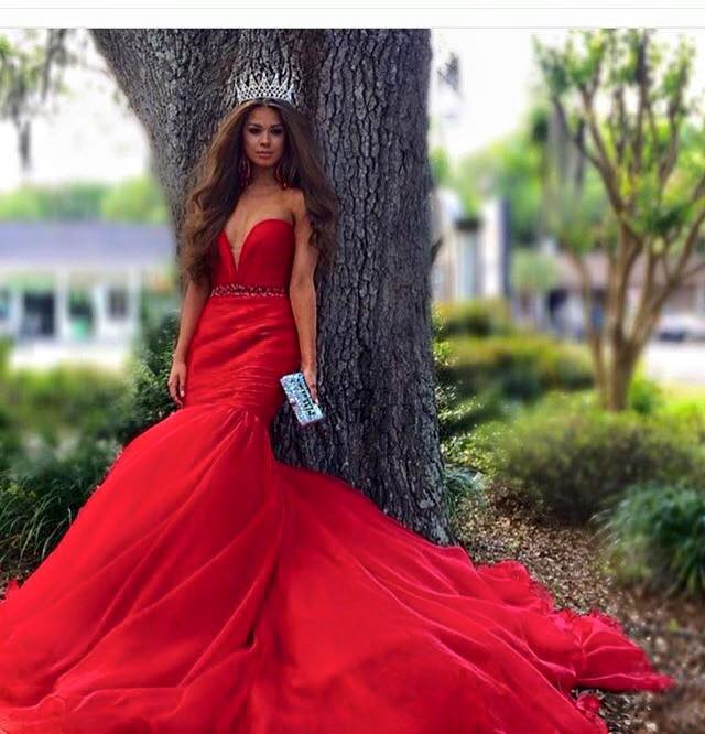 Hot Sale Sweetheart Beading Red Mermaid Satin Long Train Evening ...