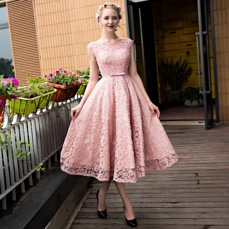 XP45 New arrival formal party evening dresses,tea-length lace pink ...