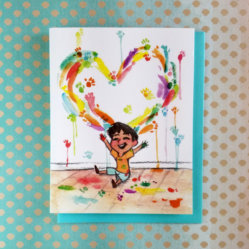 Wall Draw Boy Greeting Card Artistique Loup Online Store Powered