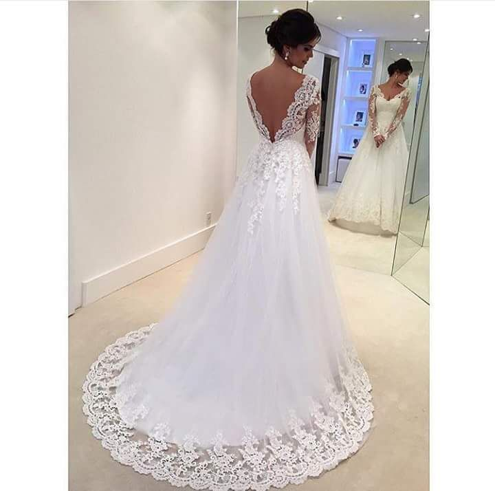 H471 Back V Long Sleeve Lace Wedding Bridal Gowns, Chapel Train ...
