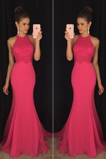 Hot Pink Mermaid Prom Dress Long, Prom Dresses,Graduation Party ...
