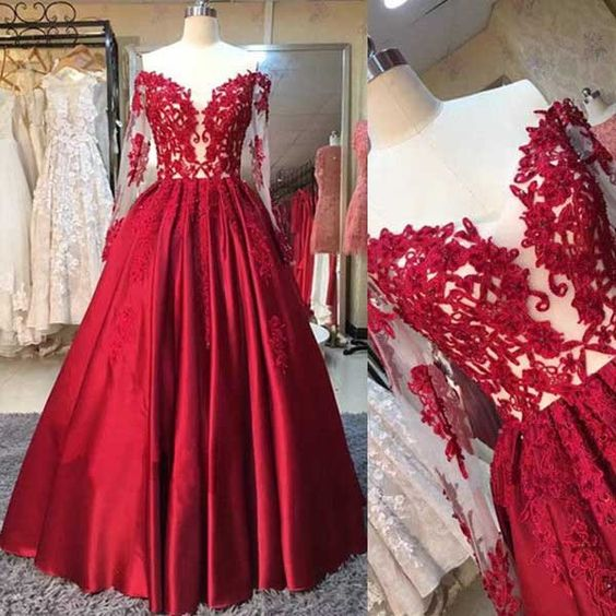 F34 Red Long Sleeves Off the Shoulder Long 2017 Prom Dress Ball Gown ...