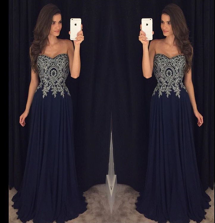 Navy Prom Dress Long, Prom Dresses,Graduation Party Dresses, Prom ...