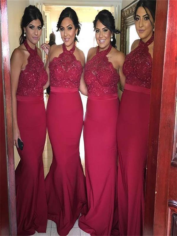 F69 Red Mermaid bridesmaid dresses, long Halter bridesmaid dresses ...