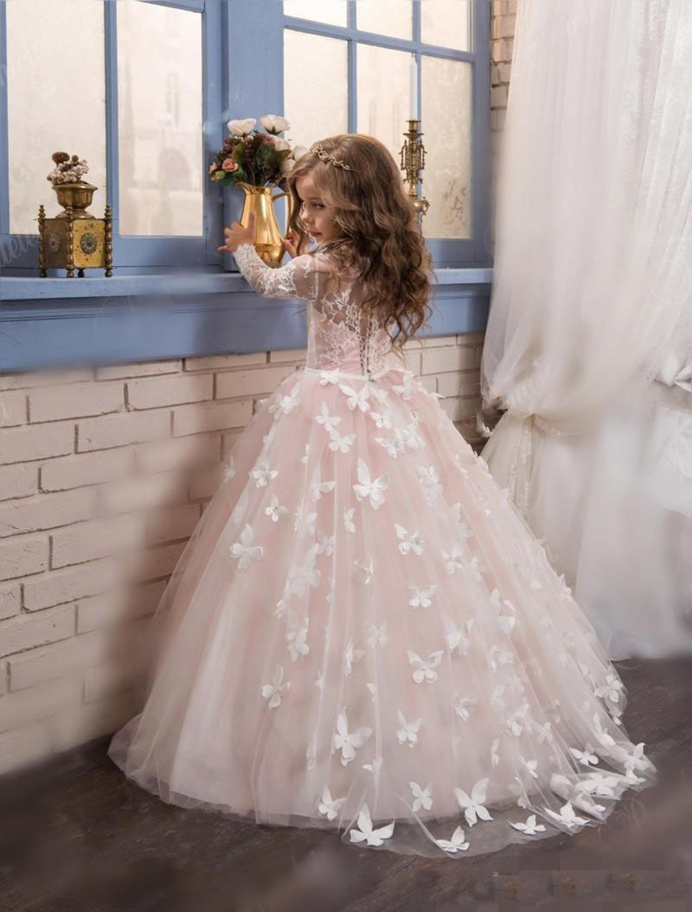2017 New Princess Hot Pink Long Sleeves Ball Gown Flower Girl Dress