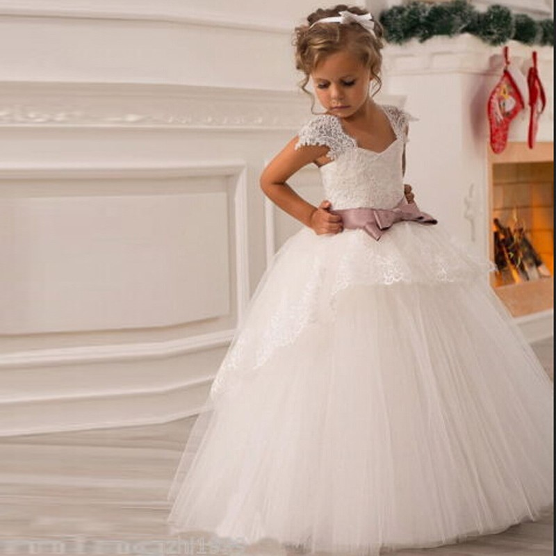 2017 New Ivory Wedding Party Formal Flowers Girl Dress Baby Pageant ...