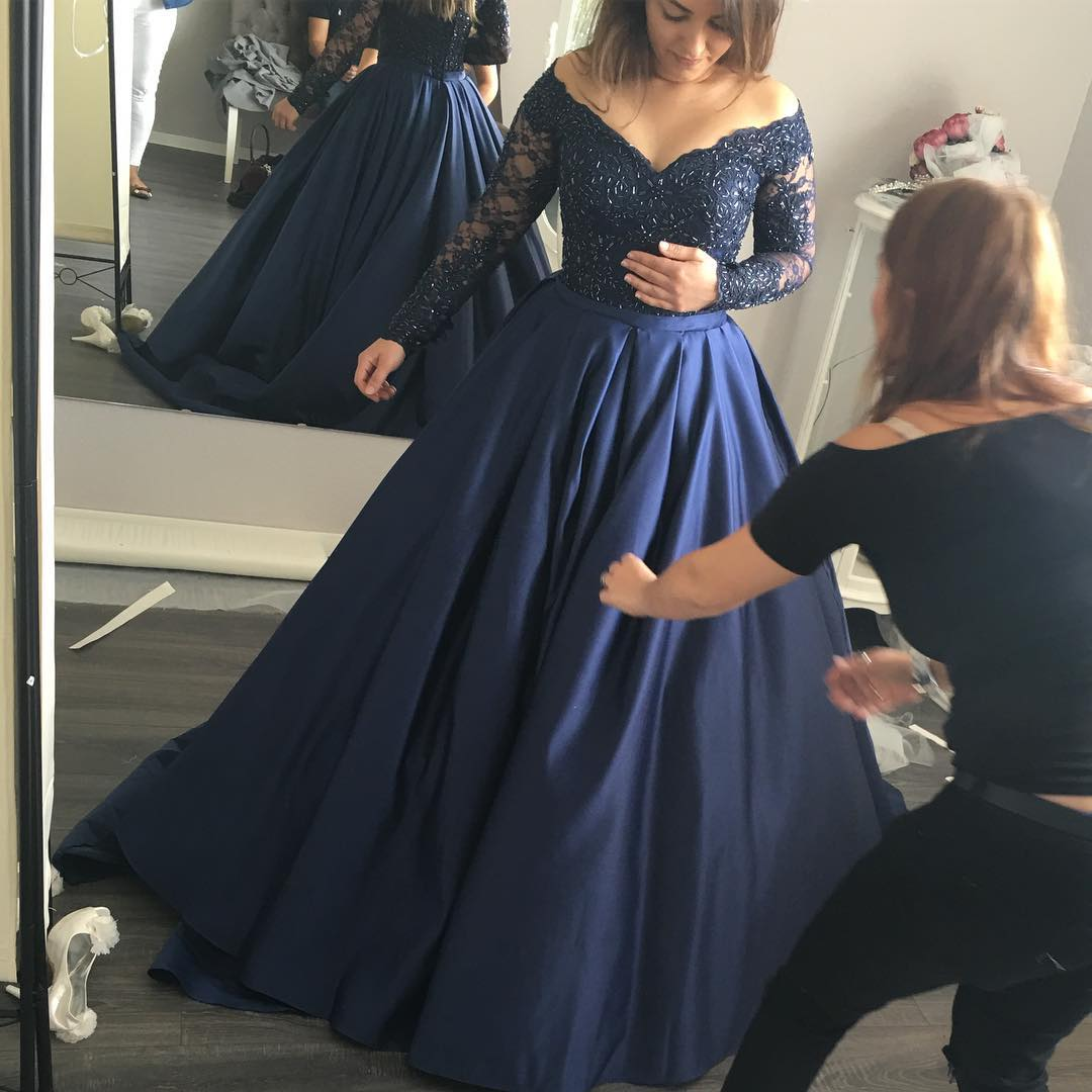 F171 Gorgeous Long Sleeves Navy Blue Prom Dress, Navy Blue Ball Gown ...