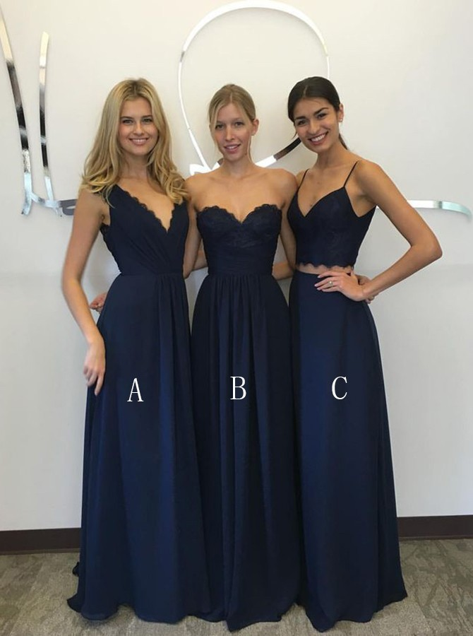 Sexy A Line Floor Length Dark Blue Chiffon Bridesmaid Dress With Pleats