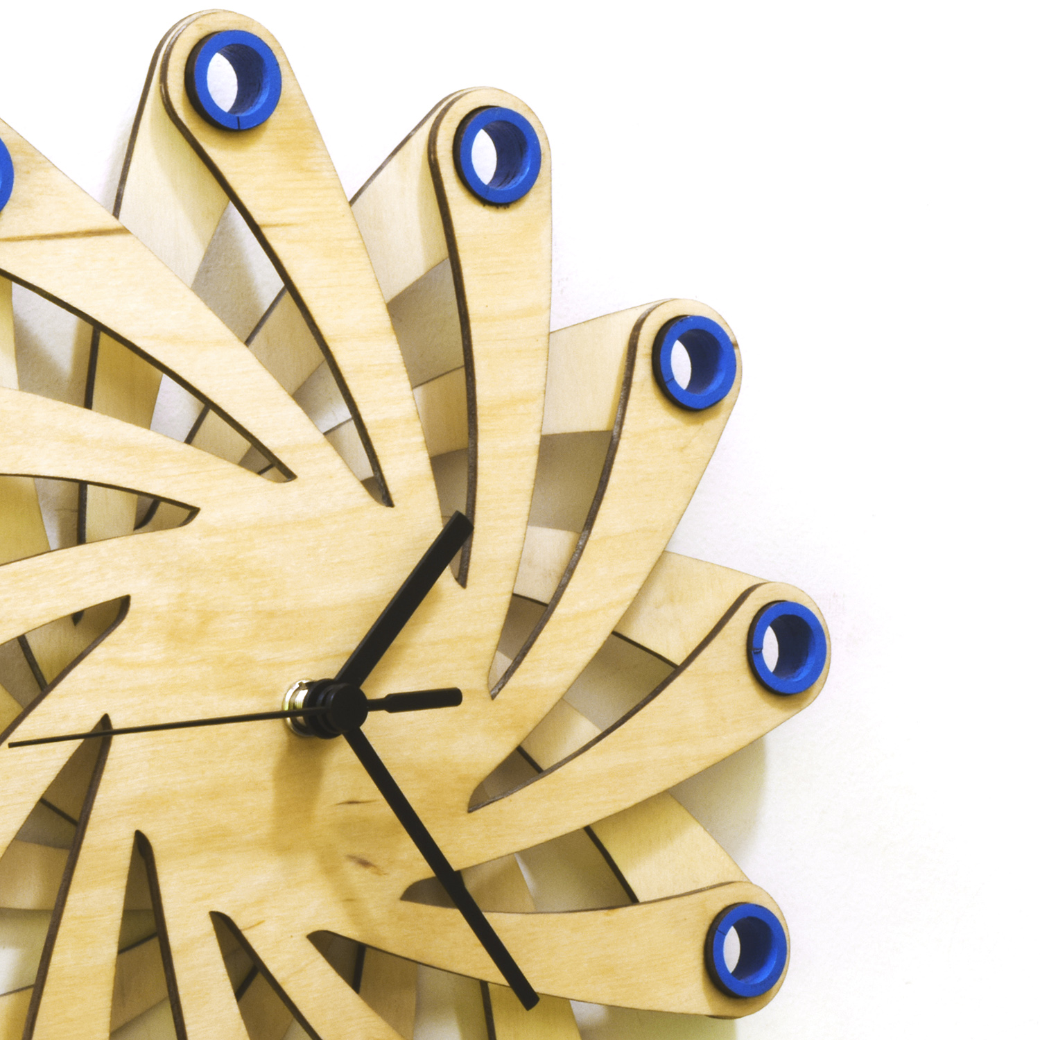 Galaxy blue - contemporary stylish wall clock made of bent plywood ...