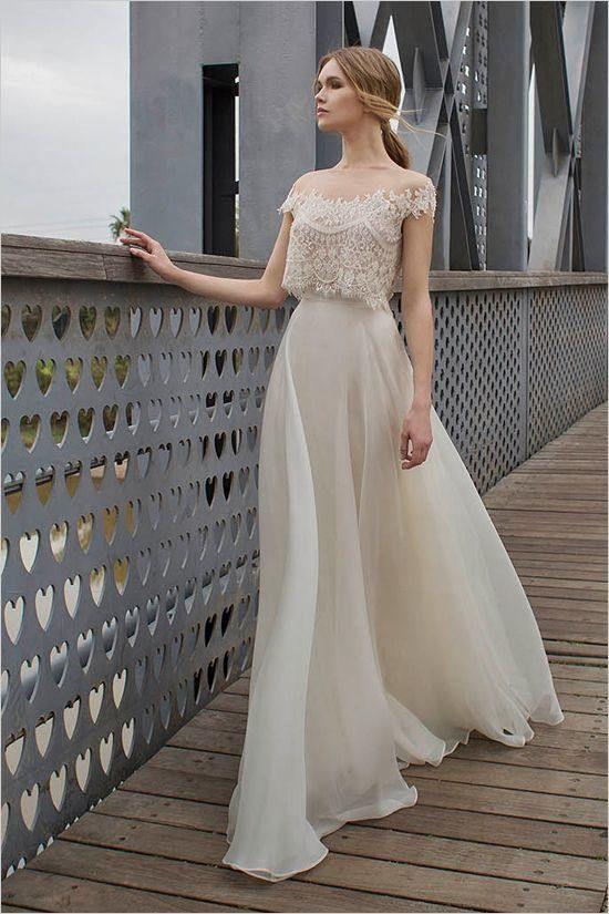 F390 Lace Short Sleeve Wedding Dress, Lace Top Simple Wedding Bridal ...