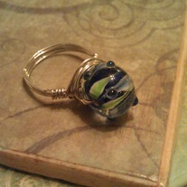 Blue & Green Bead Wire Wrapped Ring