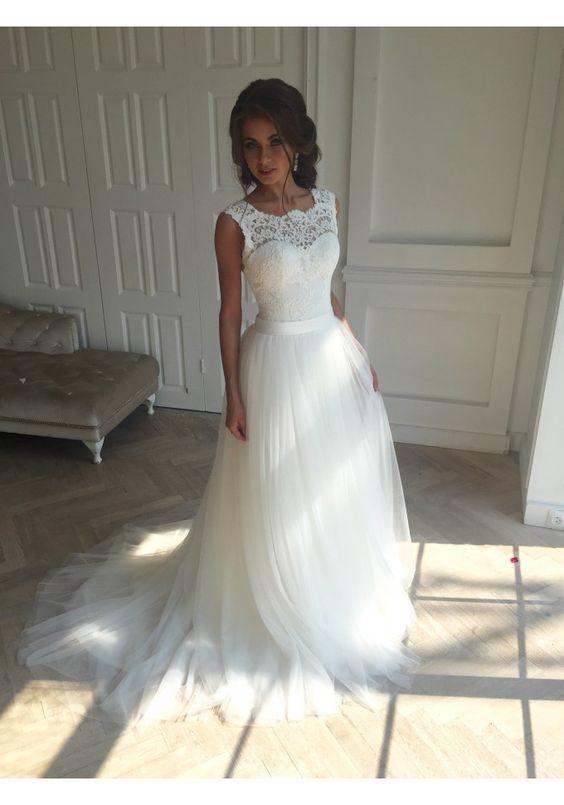 Illusion Neckline Wedding Dress, Lace and Tulle Wedding Dress ...