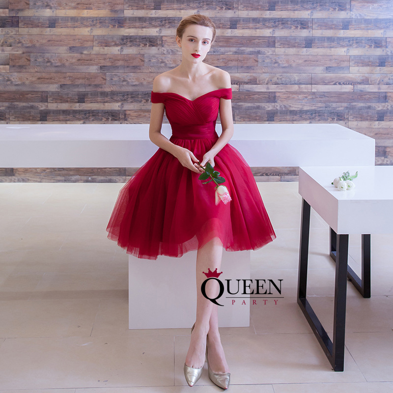 Red Tulle Off The Shoulder Strapless Ruche Short Cocktail Dress