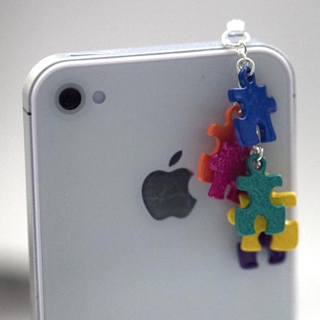 Kawaii rainbow puzzle pieces iphone earphone plug dust for Handmade decoration pieces