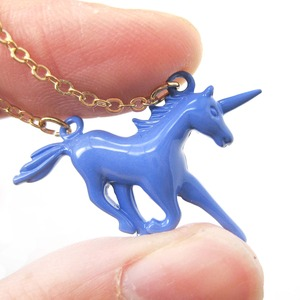 Mythical Creature Unicorn Shaped Pendant Necklace in Purple Blue