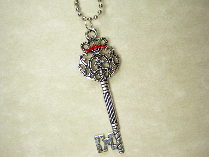 Silver crown key necklace with red rhinestones red queen silver crown key necklace with red rhinestones thumbnail 1 aloadofball Images