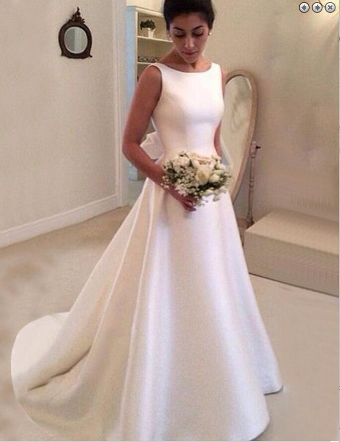 Plain Satin Wedding Dress,Dresses For Brides,Bridal Gown ...