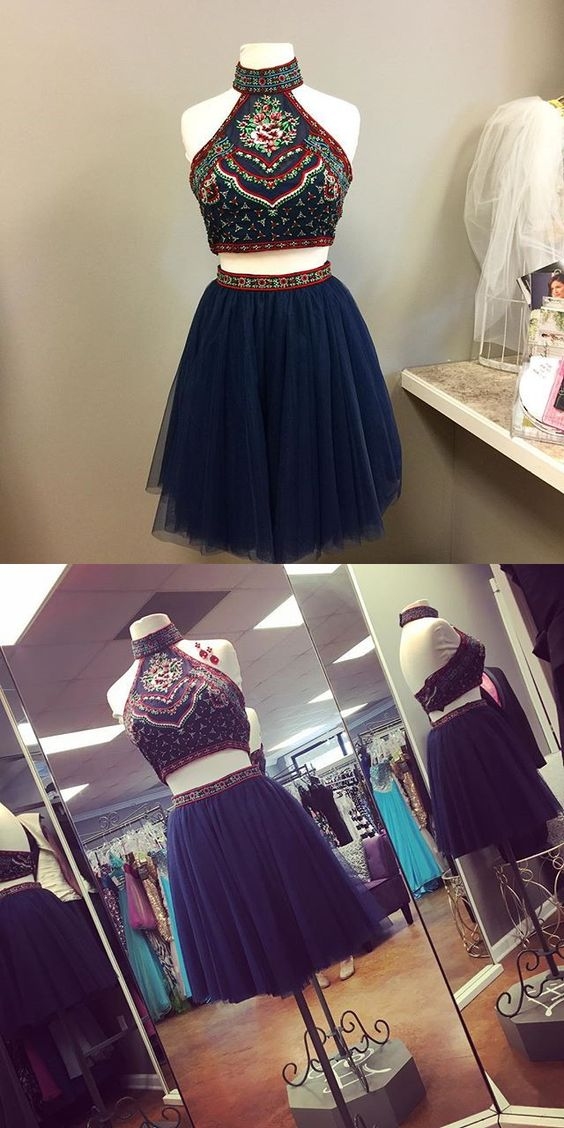 Cute Homecoming Dress,navy blue homecoming dresses,tulle short prom ...
