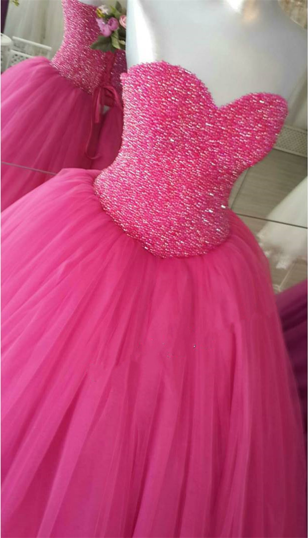 Charming Prom Dress,Elegant Tulle Sweetheart Neckline Puffy Ball ...