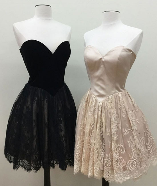 Lace Homecoming Dressshort Prom Gownsweetheart Neckline Prom Dress
