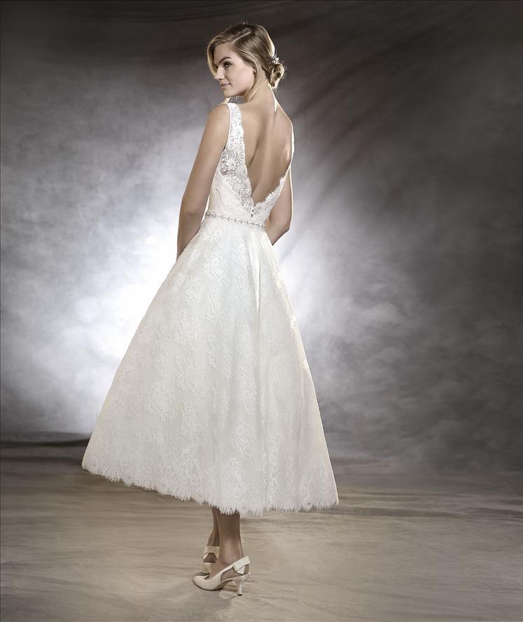 D388 Lace Top Tea Length Wedding Bridal Gowns,Back V Tea Length ...