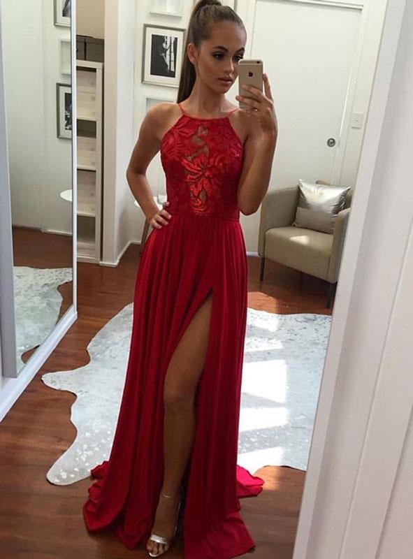 Unique Prom Dress,Chiffon Prom Dress, Leg Slit Prom Dress,Formal ...