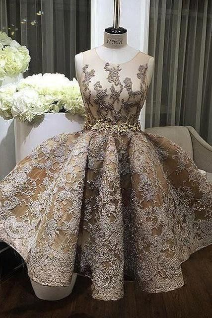 Champagne Lace Round Neck Short Formal Dressesprom Dress For Teens