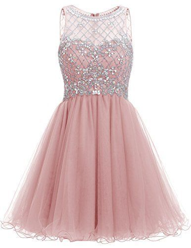 Pink Short A-Line Tulle Homecoming Dress Featuring ...