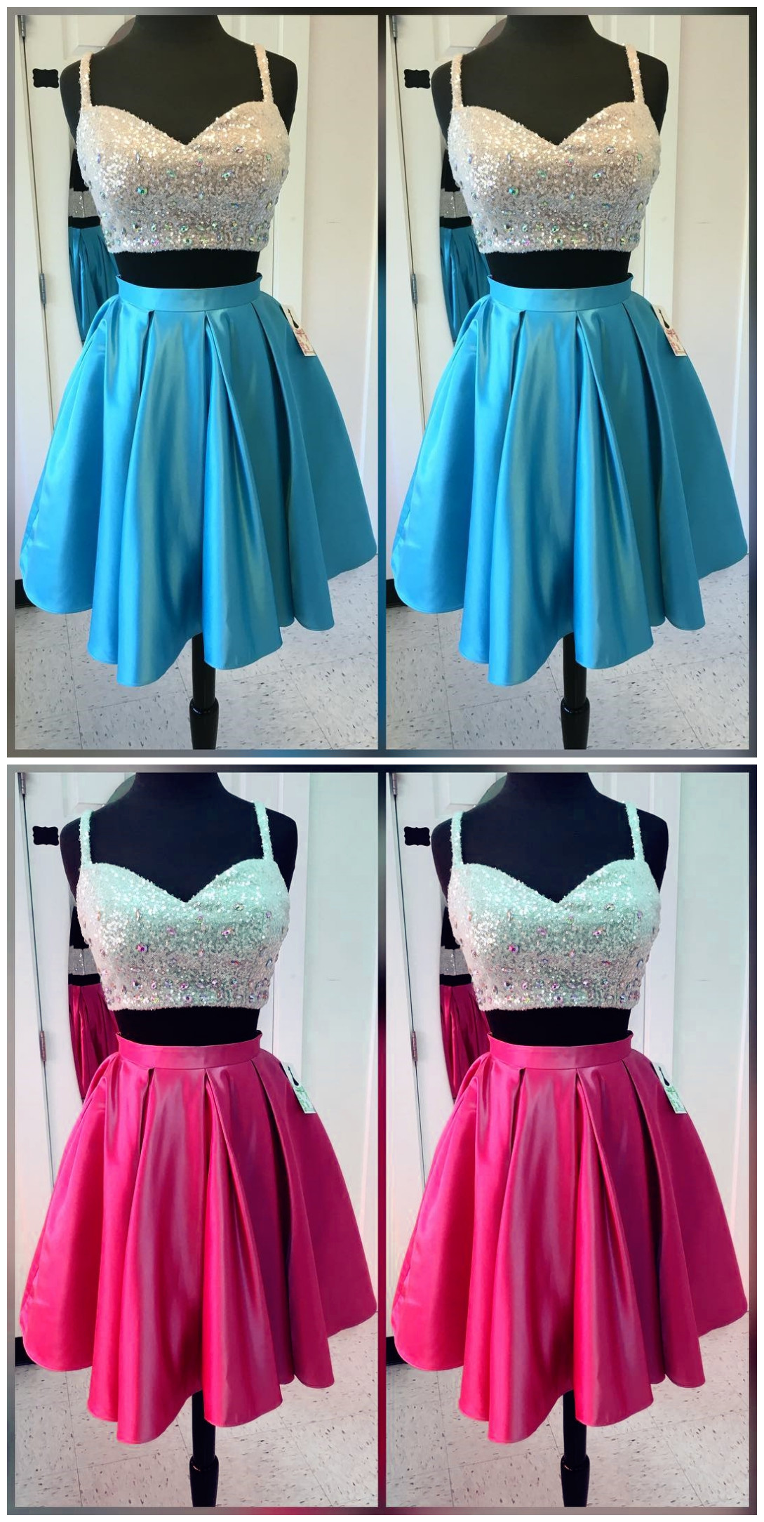 Homecoming Dress,women\'s party dresses,short satin two piece ...