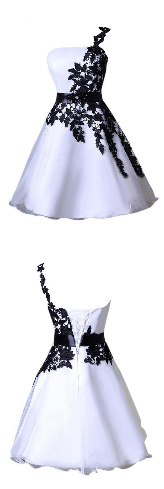 White and Black Prom Dress,Applique Prom Dress,Custom Made Evening ...