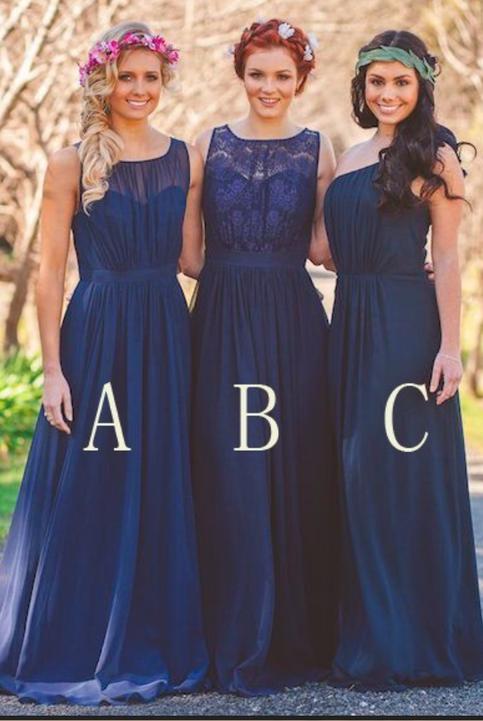 navy blue chiffon a line bridesmaid dresses robe de demoiselle d honneur femme robe de. Black Bedroom Furniture Sets. Home Design Ideas