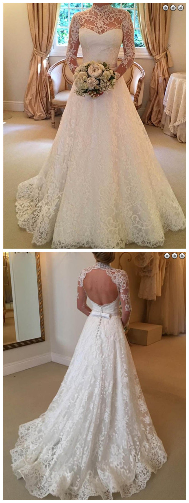 Stylish High Neck Long Sleeves Sweep Train Lace Wedding Dress with ...