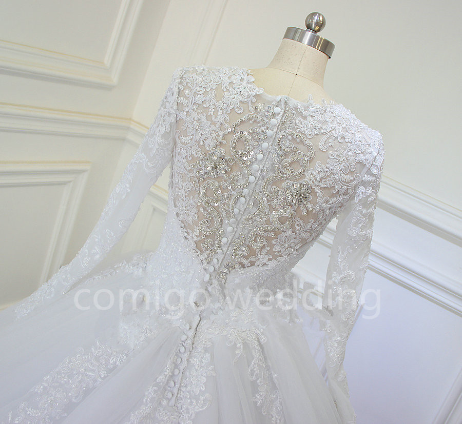 Luxury Cathedral/Royal Train Ball Gown Wedding Dress Lace Beading ...