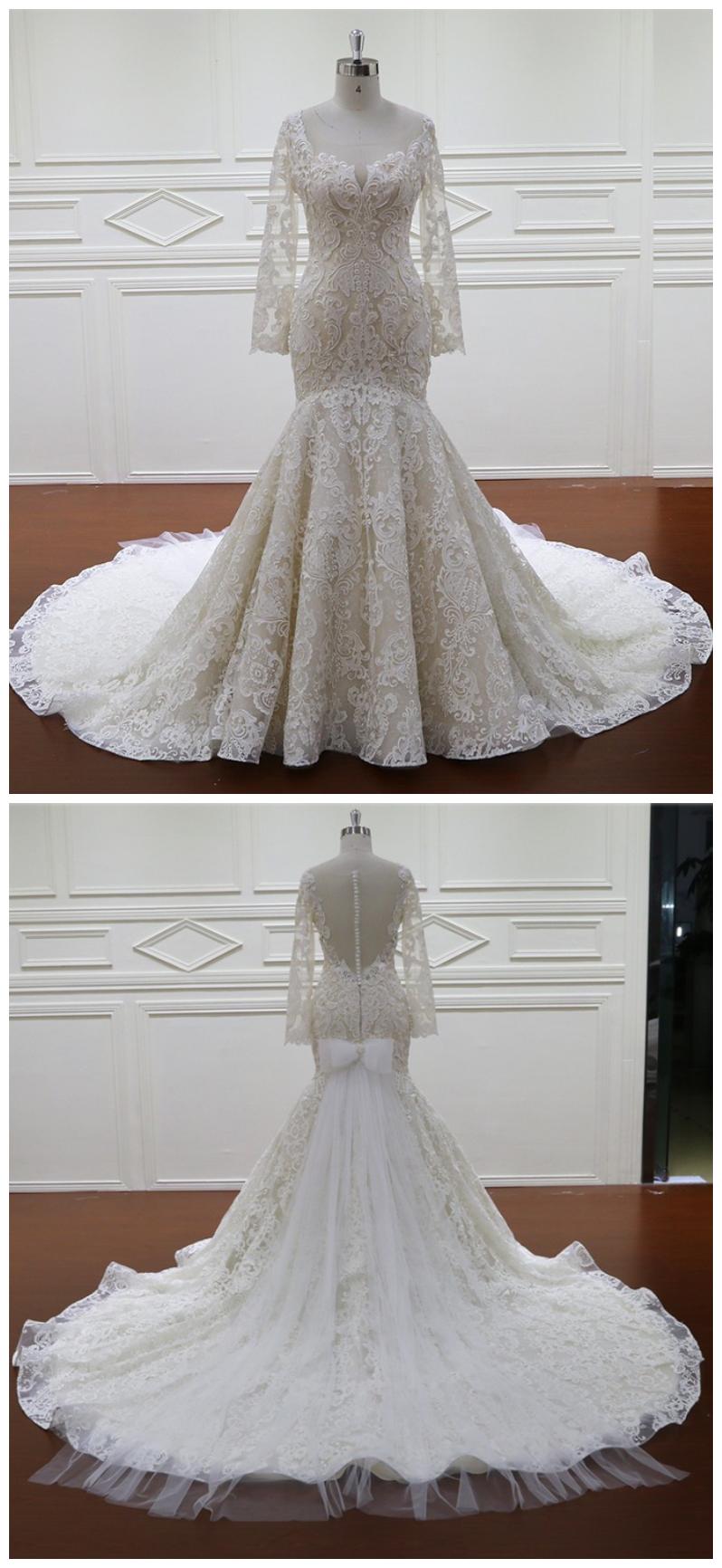 Mermaid wedding dress long sleeves unique appliques ball for Unique wedding dresses with sleeves