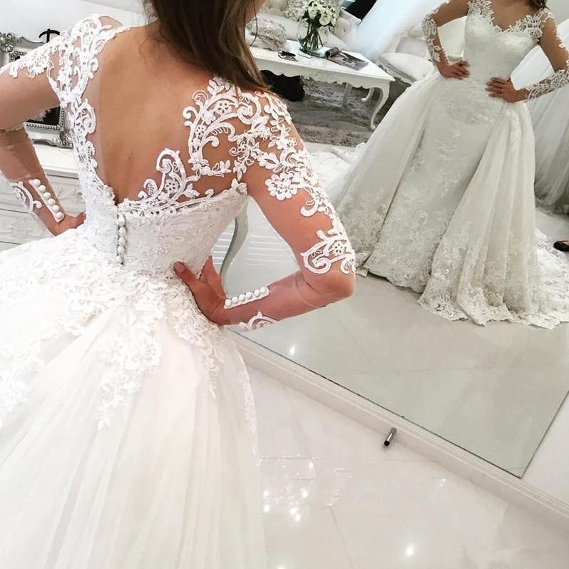 Tulle Long-Sleeves bridal dresses wedding gowns V-Neck Elegant ...