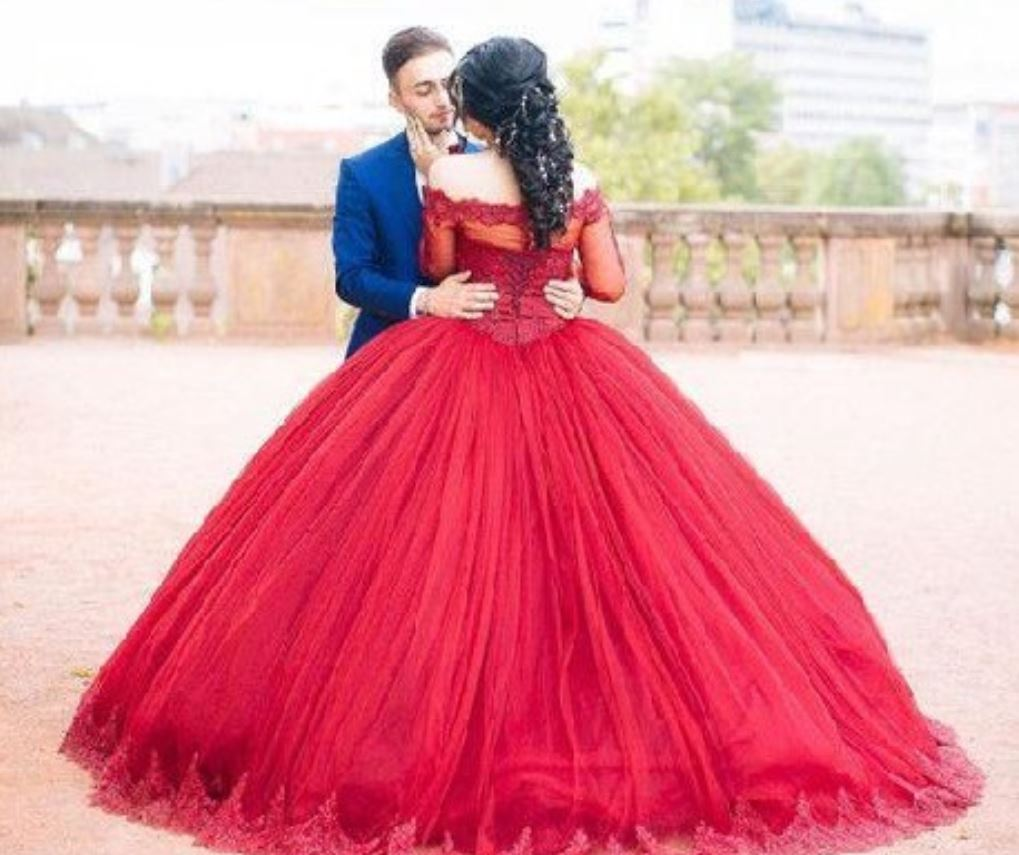 New Arrival Off the Shoulder Dark Red Ball Gowns Prom Dresses with ...