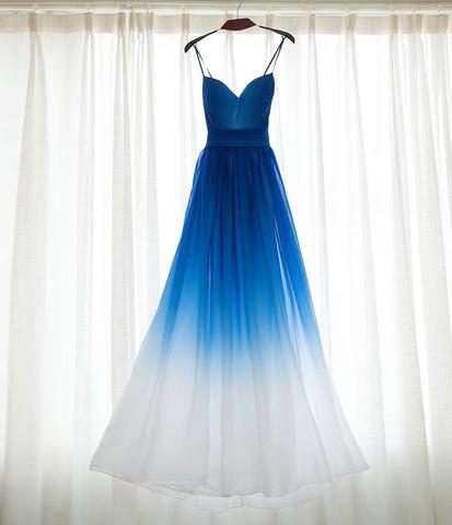 Ombre Chiffon Prom Dresses,Long Prom Dresses,V-neck Prom Dresses,A ...