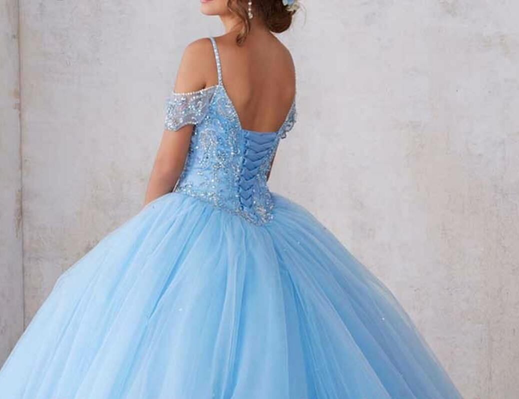 Cheap prom dresses , Sparkly Beading Bodice Blue Quinceanera Dress ...