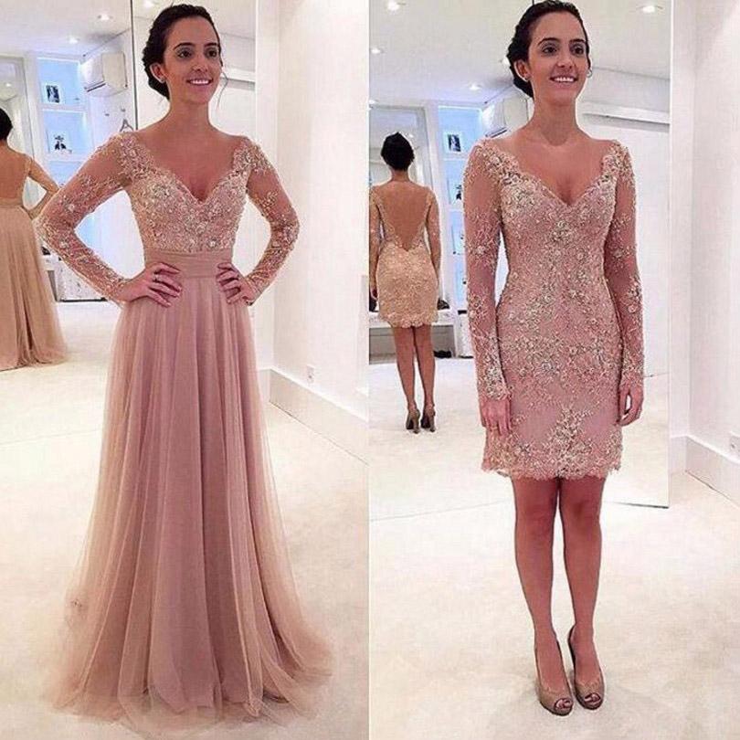 Lace V-Neck Evening Dresses