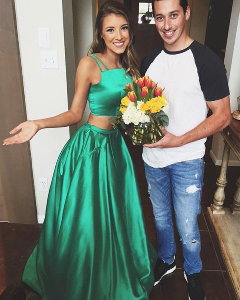 Stylish Two Pieces A-Line Spaghetti Straps Long Dark Green Prom ...
