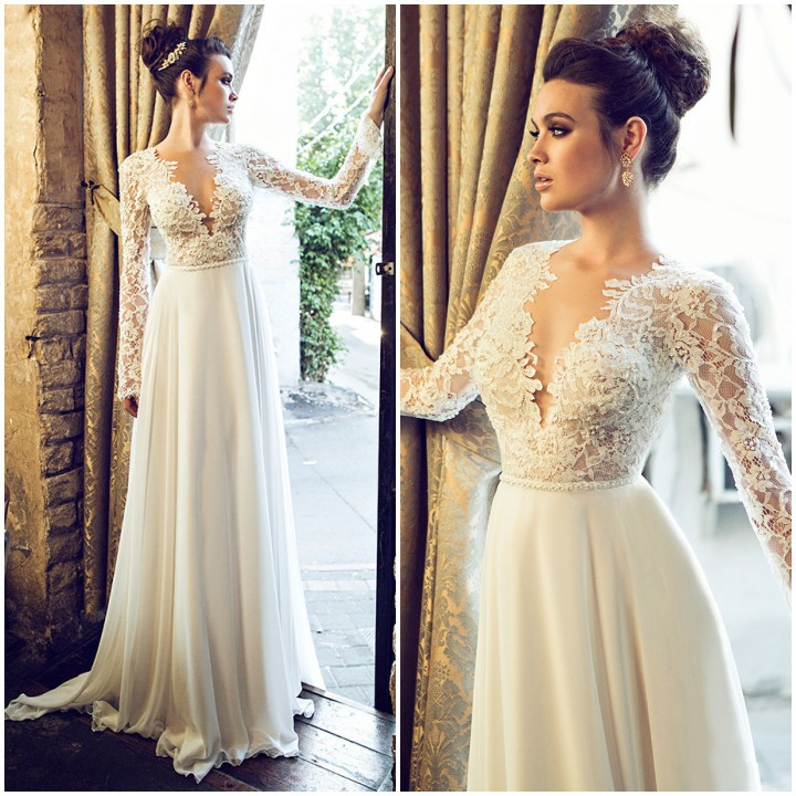 XW7 A line deep v neck long sleeve lace elegant wedding dress,long sleeve lace bridal gown,long chiffon lace wedding dress with long sleeve from Dress ...