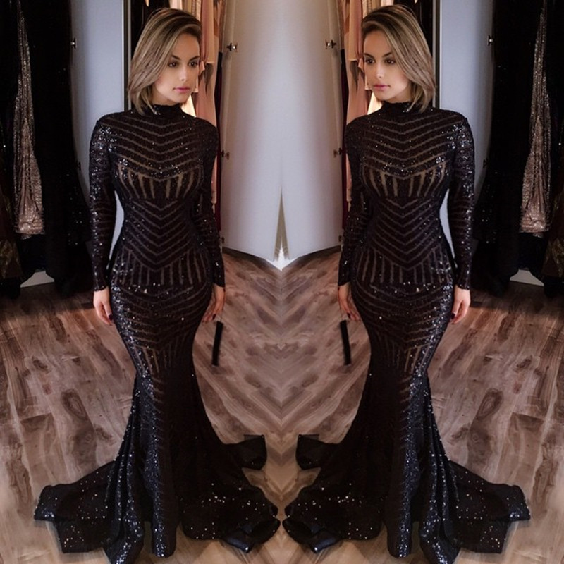 New Arrival Sequin Prom Gownblack Prom Dress Sexy Evening Gowns