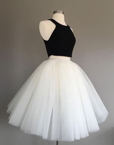 Cute tulle two pieces black and white short prom dress, tulle ...